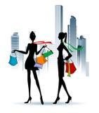 Meninas de compra Ilustração Royalty Free