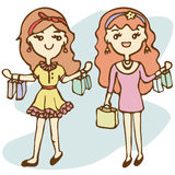 Meninas de compra com saco de compras Foto de Stock Royalty Free