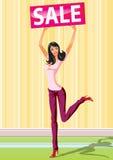 Meninas de compra da forma com venda da placa Imagem de Stock Royalty Free