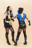 Meninas de Cosplayer vestidas ao estilo do steampunk Imagem de Stock