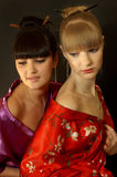 Meninas de gueixa bonitas Imagem de Stock Royalty Free