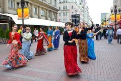 Meninas de Krishna da lebre em Moscovo Fotos de Stock Royalty Free