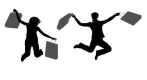 Meninas de salto dos pares com sacos ilustração do vetor