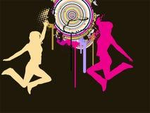 Meninas de salto no fundo abstrato Ilustração do Vetor