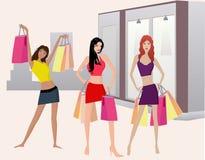 Meninas de Shoping - illustt do vetor Fotos de Stock