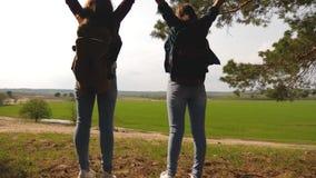 Meninas do caminhante dos trabalhos de equipe que levantam suas m?os acima, comemorando Victory And Enjoying Scenery mulheres no  video estoque
