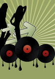 Meninas do disco e registros de vinil Imagens de Stock