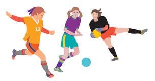 Meninas do futebol que perseguem a bola ilustração stock