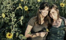 Meninas do girassol Foto de Stock Royalty Free