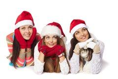 Meninas do Natal que olham o espaço vazio da cópia Fotos de Stock Royalty Free