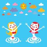 Meninas do verão ilustração royalty free