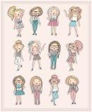 Meninas dos desenhos animados. Crianças da forma ajustadas. Imagens de Stock Royalty Free