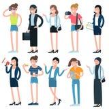 Meninas dos desenhos animados e caráteres e profissões das mulheres ilustração royalty free