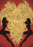 Meninas e coração ilustração do vetor