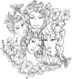 Meninas e flores ilustração do vetor