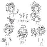 Meninas e flores Imagem de Stock