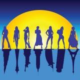 Meninas e ilustração famosa do vetor das construções Fotografia de Stock Royalty Free