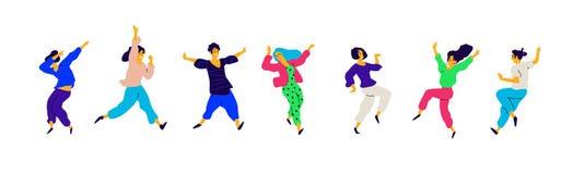 Meninas e meninos no positivo, uma carga da energia Vetor Ilustrações dos homens e das fêmeas Estilo liso Um grupo de feliz e ilustração stock