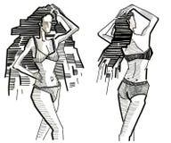 Meninas e verão e terno e biquini e ho Foto de Stock