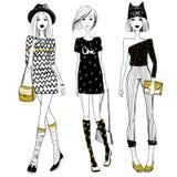 Meninas elegantes bonitas do vetor Meninas bonitos ajustadas Modo da forma ilustração royalty free