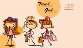 Meninas elegantes dos desenhos animados Imagens de Stock Royalty Free