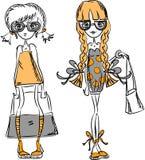Meninas elegantes dos desenhos animados Fotografia de Stock Royalty Free