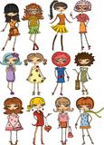 Meninas elegantes dos desenhos animados Fotos de Stock Royalty Free