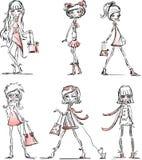 Meninas elegantes dos desenhos animados, vetor Imagens de Stock Royalty Free