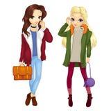 Meninas em Autumn Warm Outfits Foto de Stock Royalty Free
