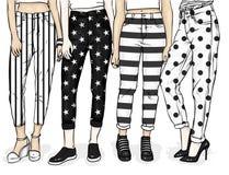 Meninas em calças de brim e em sapatas à moda Pés fêmeas delgados Vector a ilustração para um cartão ou um cartaz, cópia para a r ilustração stock
