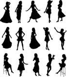 Meninas em silhuetas dos vestidos ilustração do vetor