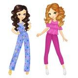 Meninas encaracolado na roupa do verão Imagens de Stock Royalty Free