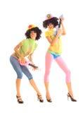 Meninas engraçadas com guitarra Foto de Stock