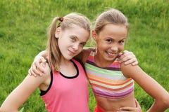 Meninas felizes alegres Imagens de Stock Royalty Free