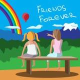 Meninas felizes com assento em um banco que olha os amigos do balão e do arco-íris para sempre Ilustração fêmea da amizade ilustração royalty free