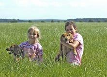 Meninas felizes com filhotes de cachorro Fotografia de Stock
