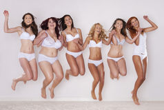 Meninas felizes da beleza Fotos de Stock Royalty Free