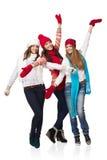 Meninas felizes do inverno do comprimento três completos Imagem de Stock Royalty Free