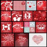 Meninas felizes e amor do menino do coração do fundo do dia do Valentim s das coleções ilustração stock