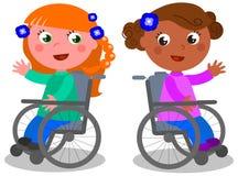 Meninas felizes no vetor da cadeira de rodas Fotos de Stock