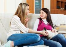 Meninas felizes que falam no sofá na casa fotos de stock royalty free