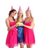 Meninas felizes que têm uma festa de anos Imagens de Stock
