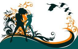 Meninas, flores e pássaros Ilustração Royalty Free