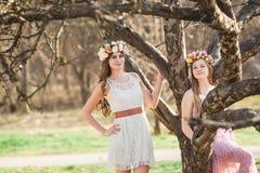 Meninas, grinalda floral e floresta da mola Fotos de Stock