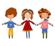 Meninas. Jogo dos personagens de banda desenhada Fotos de Stock