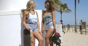 Meninas ? moda seguras que conversam na praia vídeos de arquivo