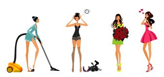 Meninas modernas ajustadas Imagens de Stock Royalty Free