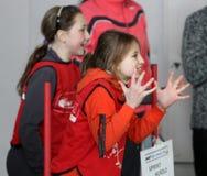 Meninas na competição do atletismo de IAAF Kidâs Fotos de Stock