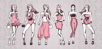 Meninas na cor-de-rosa ilustração do vetor