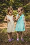 Meninas na floresta com cogumelos fotografia de stock